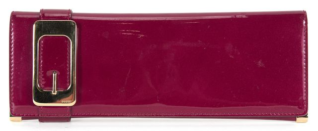 GUCCI Raspberry Patent Leather Long Gold Buckle Clutch