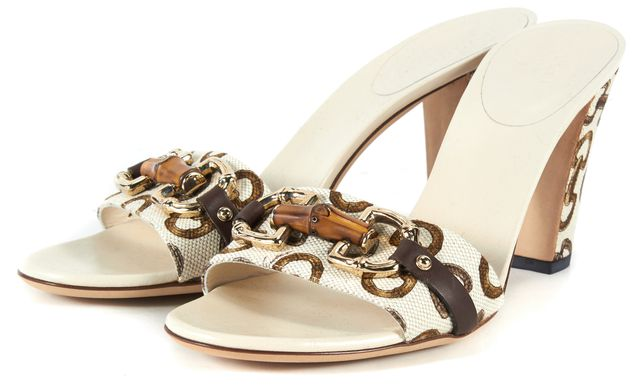 GUCCI Ivory Brown Printed Canvas Leather Trim Slip-On Heels