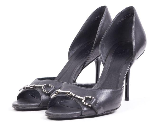 GUCCI Black Leather D'Orsay Horse Bit Open Toe Pump Heels