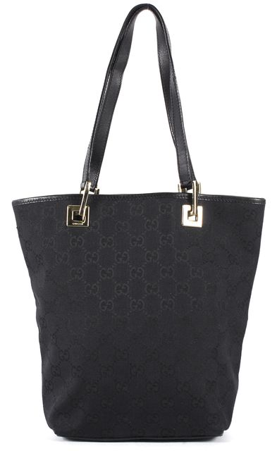 GUCCI Black GG Canvas Leather Trim Shoulder Bag