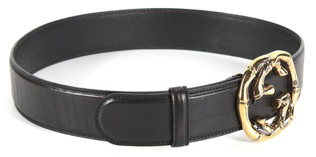 GUCCI Black Leather Golden GG Belt