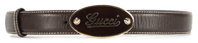 GUCCI Brown Leather Logo Buckle Belt