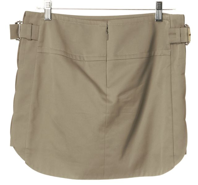 GUCCI Beige Straight Bamboo Buckle Mini Skirt