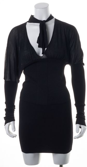 GUCCI Black Silk Sheer Ribbed Knit Combo Tie Neck Blouse Top