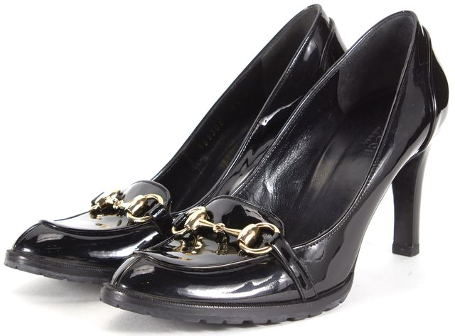 GUCCI Black Patent Leather Horsebit Loafer Heels