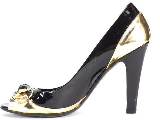 GUCCI Black Gold Patent Leather Bamboo Horsebit Peep-Toe Heels