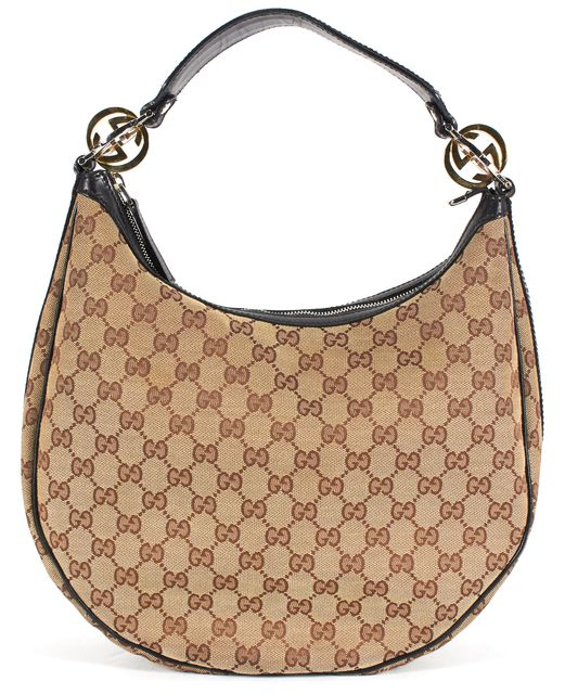 GUCCI Brown GG Monogram Canvas Leather Trim Hobo Bag