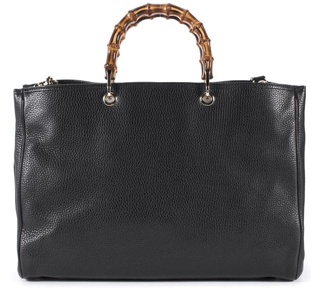 GUCCI Black Leather Bamboos Shopper Tote Shoulder Bag