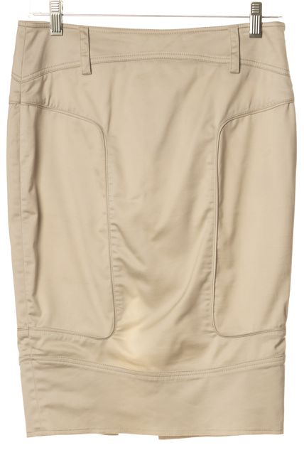 GUCCI Beige A-Line Cotton Split Back Skirt