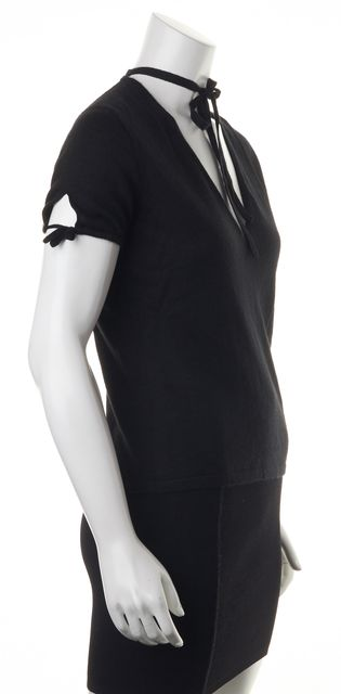 GUCCI Black 100% Cashmere Short Sleeve Neck Tied Blouse Top