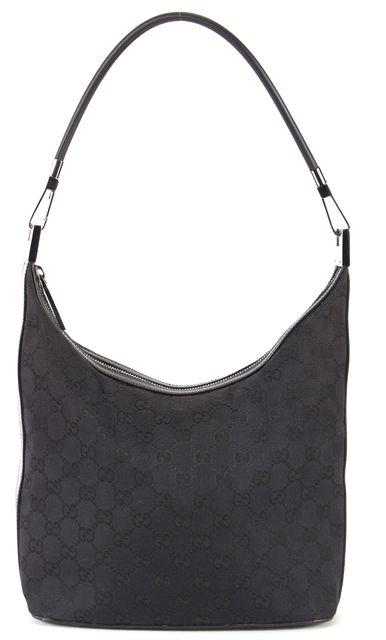 GUCCI Black GG Monogram Canvas Leather Trim Hobo Shoulder Bag