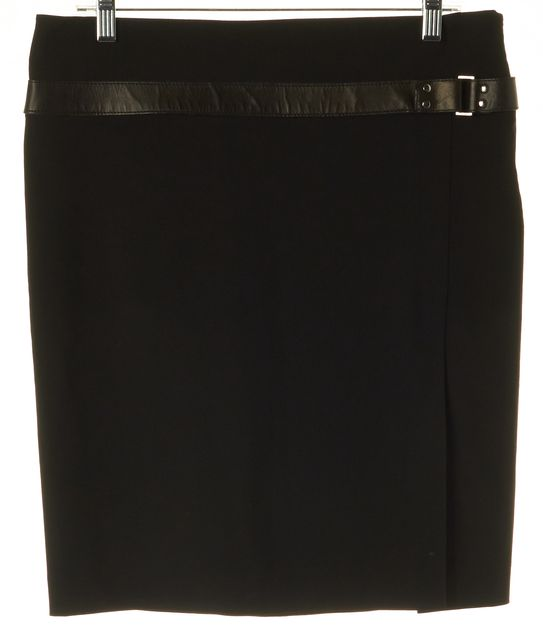 GUCCI Black Wool Leather Trim Front Side Slit Straight Skirt