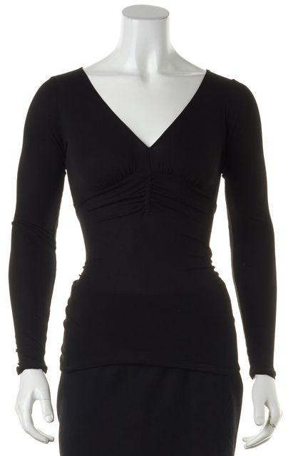 GUCCI Black Sheer V-Neck Long Sleeve Blouse Top