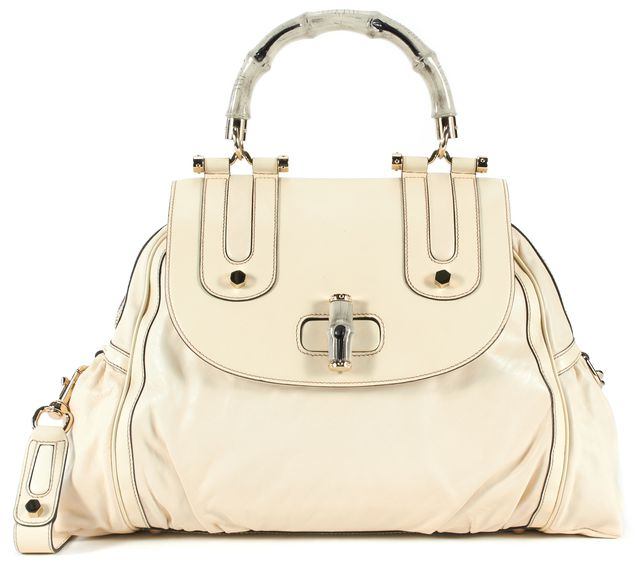 GUCCI Ivory Leather Pop Bamboo Handle Satchel