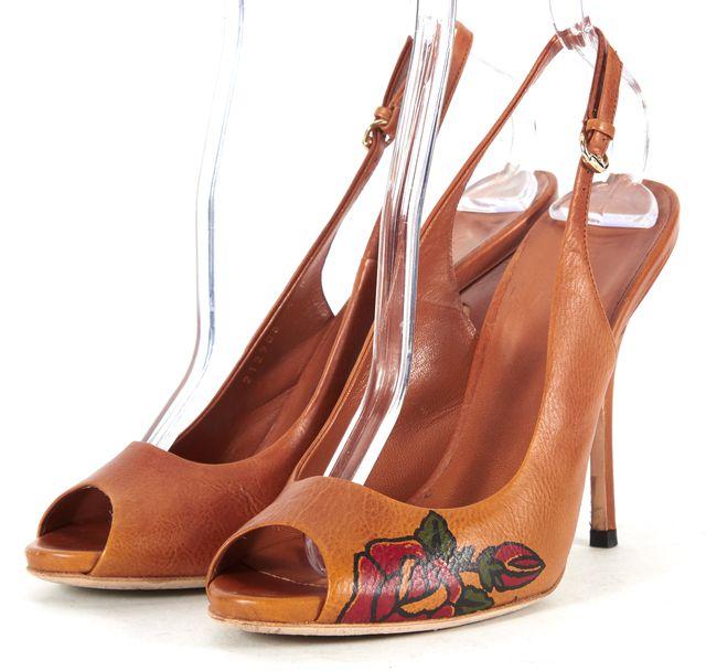 GUCCI Brown Leather Tattoo Rose Peep Toe Pioneer Slingback Heels