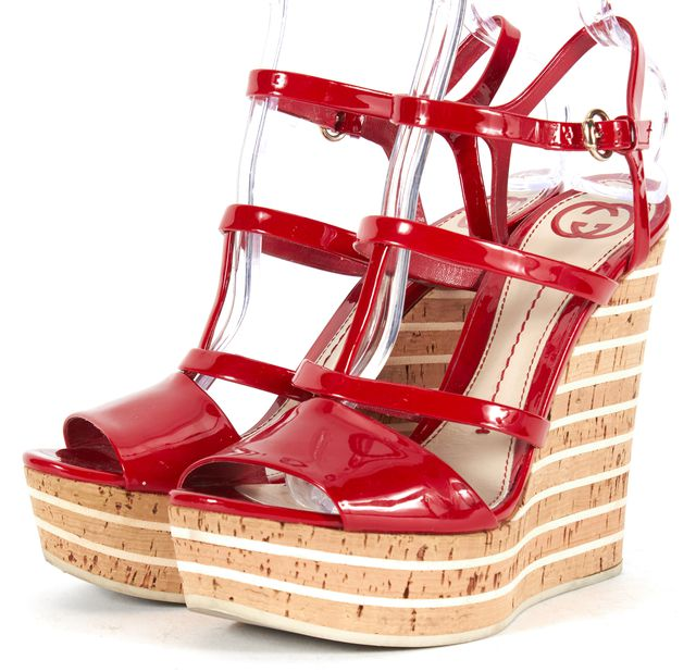 GUCCI Red Patent Leather Platform Cork Sandal Wedges
