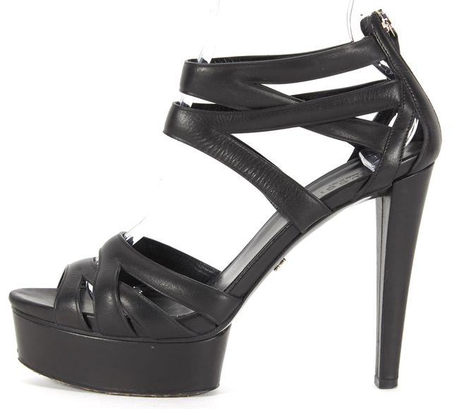 GUCCI Black Leather Multi Strap Platform Sandal Heels
