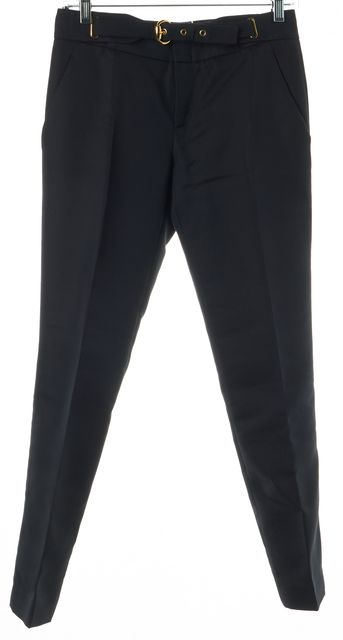 GUCCI Black Cropped Pleated Trouser Dress Pants