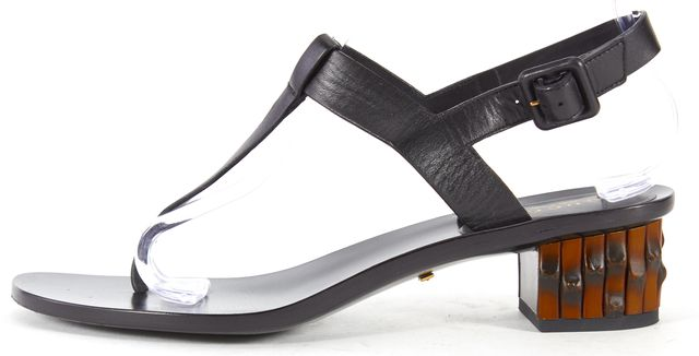 GUCCI Black Leather T-Strap Bamboo Heel Sandals