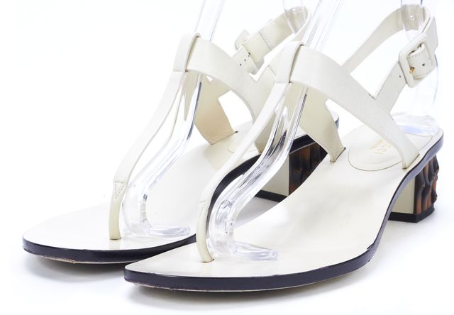 GUCCI Ivory Leather T-Strap Bamboo Heeled Sandals