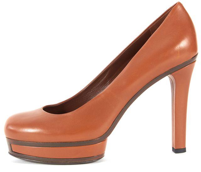 GUCCI Brown Leather Round Toe Platform Heels