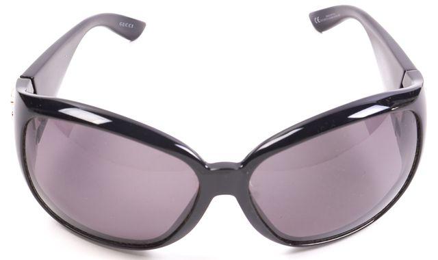 GUCCI Black Acetate Frame Gray Lens Square Sunglasses w/ Case