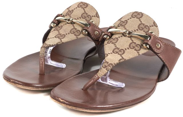 GUCCI Brown GG Monogram Canvas Leather Trim Horsebit Flat Sandals