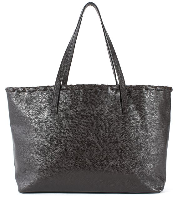 GUCCI Chocolate Brown Pebbled Leather Bamboo Tassel Tote Bag