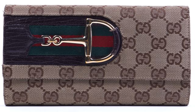 GUCCI Brown GG Monogram Canvas Leather Trim Continental Wallet