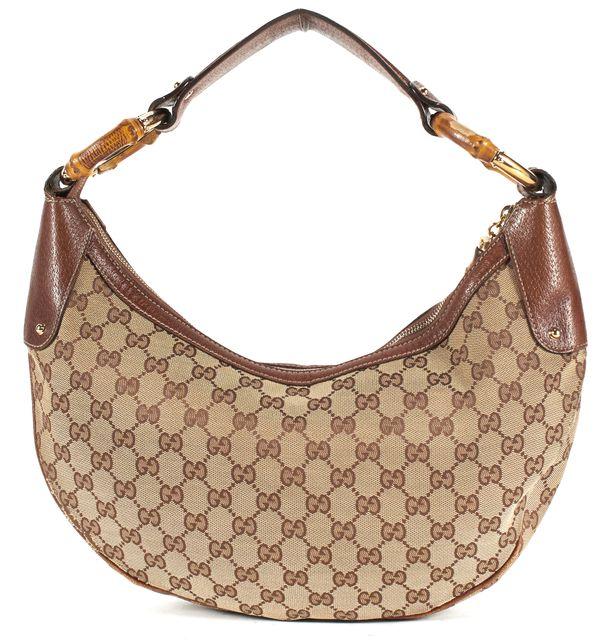 GUCCI Brown Canvas Medium GG Logo Hobo Bag