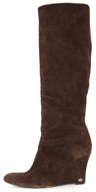 GUCCI Brown Suede Round Toe Tall Wedge Knee-High Boots