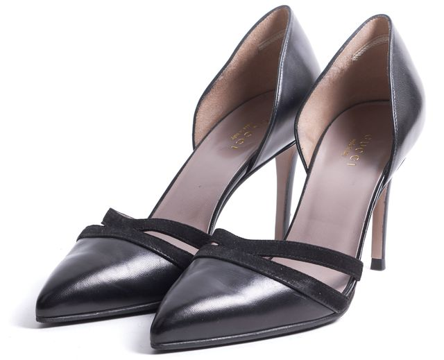 GUCCI Black Leather Suede Trim d'Orsay Pointed Toe Pumps