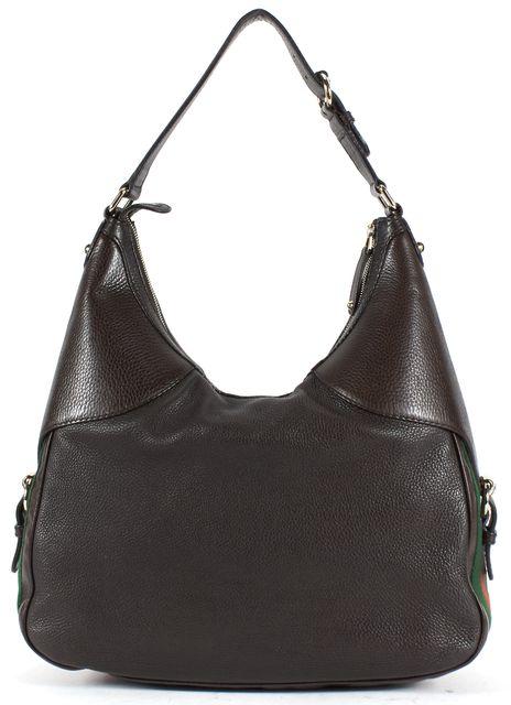 GUCCI Brown Pebbled Leather Heritage Web Horsebit Hobo Shoulder Bag
