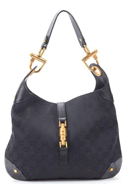 GUCCI Black GG Canvas Leather Trim Studded Piston Hobo Bag