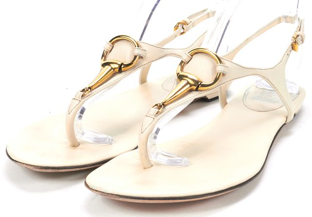 GUCCI Mystic White Leather Nappa Charlotte T-Strap Thong Sandals
