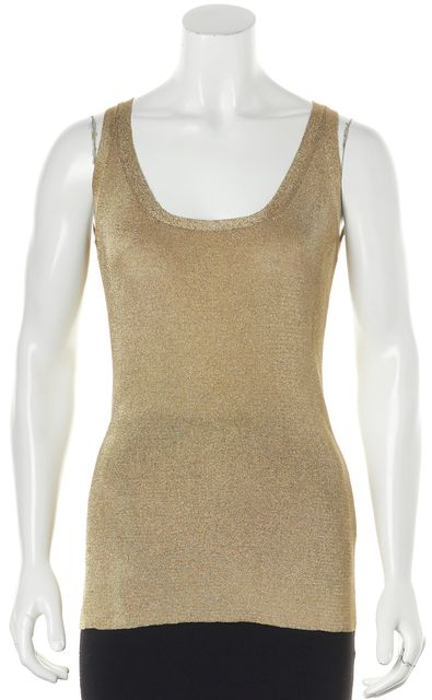 GUCCI Gold Sleeveless Viscose Metallized Polyester Casual Tank Top