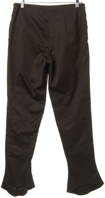 GUCCI Brown Cotton Blend Double Side Zipped Flare Trousers Pants