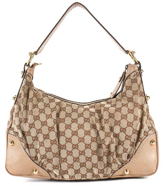 GUCCI Brown Monogram GG Canvas Leather Trim Jockey Hobo Bag