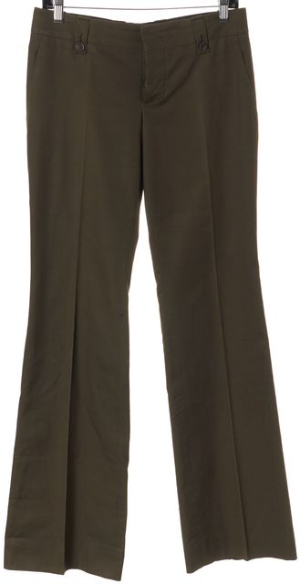 GUCCI Olive Green Boot Cut Flare Leg Trousers Pants