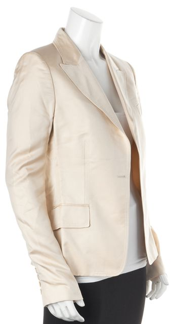GUCCI Beige Silk Button Front Dress Blazer Jacket