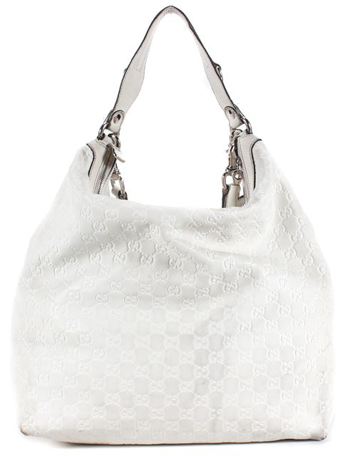 GUCCI White Guccissima Leather Top Handle Hobo Bag
