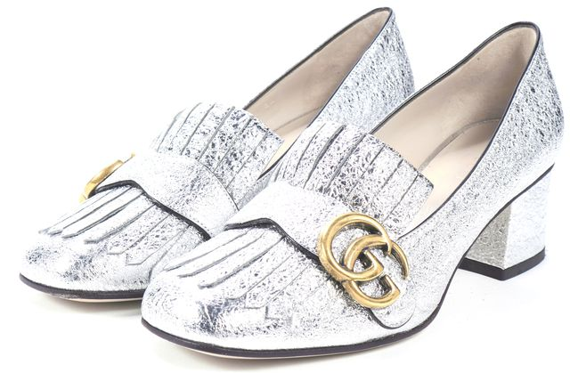 GUCCI Metallic Silver Leather Gold GG Fringe Heeled Loafers