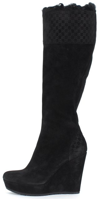GUCCI Black Suede MicroGuccissima Embossed Suede Knee-High Wedge Boots