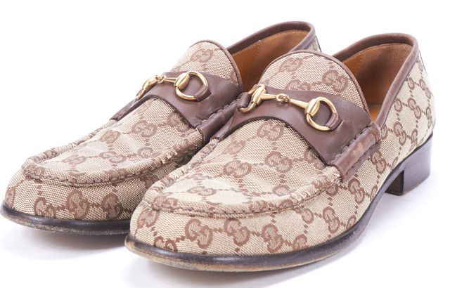 GUCCI Brown GG Canvas Leather Trim Horsebit Loafers