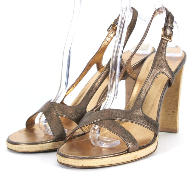 GUCCI Brown Bronze Leather Multi Strap Slingback Sandal Heels