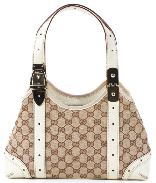 GUCCI Beige Monogram Canvas Leather Trim Satchel Shoulder Bag