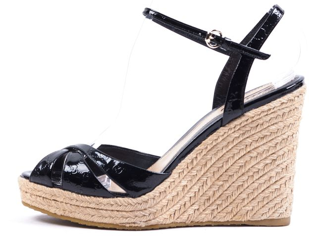 GUCCI Black Vernice MicroGuccissima Espadrilles Sandal Wedges