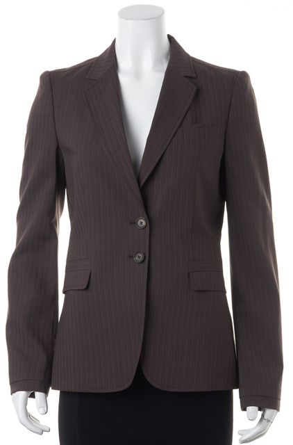 GUCCI Brown Beige Striped Button Front Two Pocket Dress Blazer Jacket