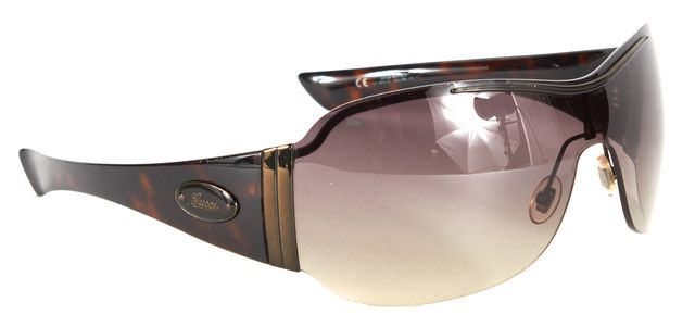 GUCCI Brown Black Acetate Gradient Lens Shield Sunglasses