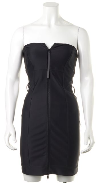 GUCCI Black Bodycon Zip-Up Dress US XS IT 38
